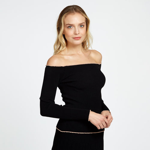 Lettuce Ribbed Off The Shoulder Top | Autumn Cashmere