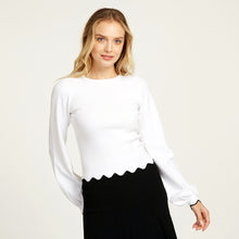 Load image into Gallery viewer, Scallop Edge Crew with Bishop Sleeve in White | Women's Blouse | Autumn Cashmere