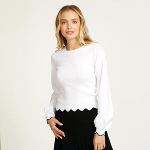 Scallop Edge Crew with Bishop Sleeve in White | Women's Blouse | Autumn Cashmere