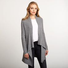 Load image into Gallery viewer, Cashmere Rib Drape Cardigan in Grey | Women's Clothing & Knitwear | Autumn Cashmere