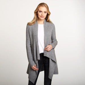 Cashmere Rib Drape Cardigan in Grey | Women's Clothing & Knitwear | Autumn Cashmere