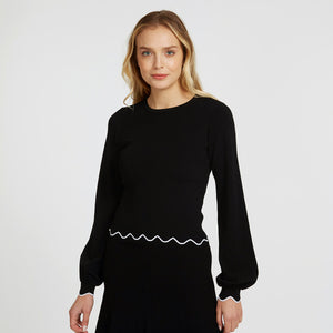 Scallop Edge Crew with Bishop Sleeve in Black | Black Blouse | Women's Apparel | Autumn Cashmere