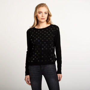 Cashmere Boxy Crew with Paillettes | Podka Dot Pullover Sweater | Autumn Cashmere