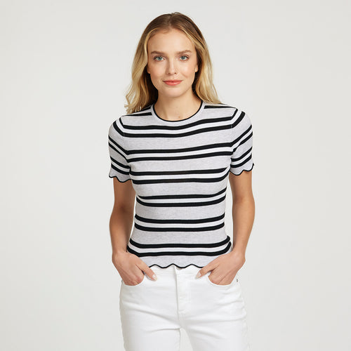 Striped Scallop Edge Rib Baby Tee | Women's Apparel | 100% Cotton | Autumn Cashmere