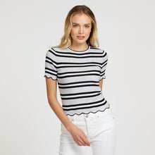 Load image into Gallery viewer, Striped Scallop Edge Rib Baby Tee | Women's Apparel | 100% Cotton | Autumn Cashmere
