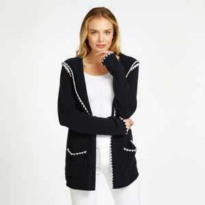 Open Hoodie with Crochet Stitching in Navy Blue | Women's Apparel & Jackets | 100% Cashmere | Autumn Cashmere