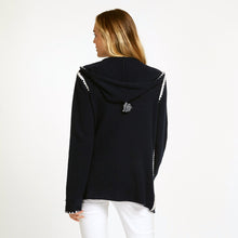 Load image into Gallery viewer, Open Hoodie with Crochet Stitching in Navy Blue | Women's Apparel & Jackets | 100% Cashmere | Autumn Cashmere