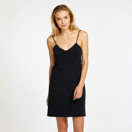 Slip Dress in Black | Women's Lingerie & Night Out Wear | V-Neck | Autumn Cashmere