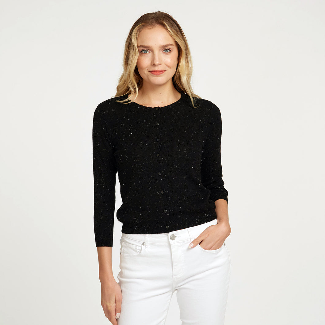 Angelina Baby Cardigan in Black with Speckles | Easy Crop Cardigan | Women's Apparel | Autumn Cashmere
