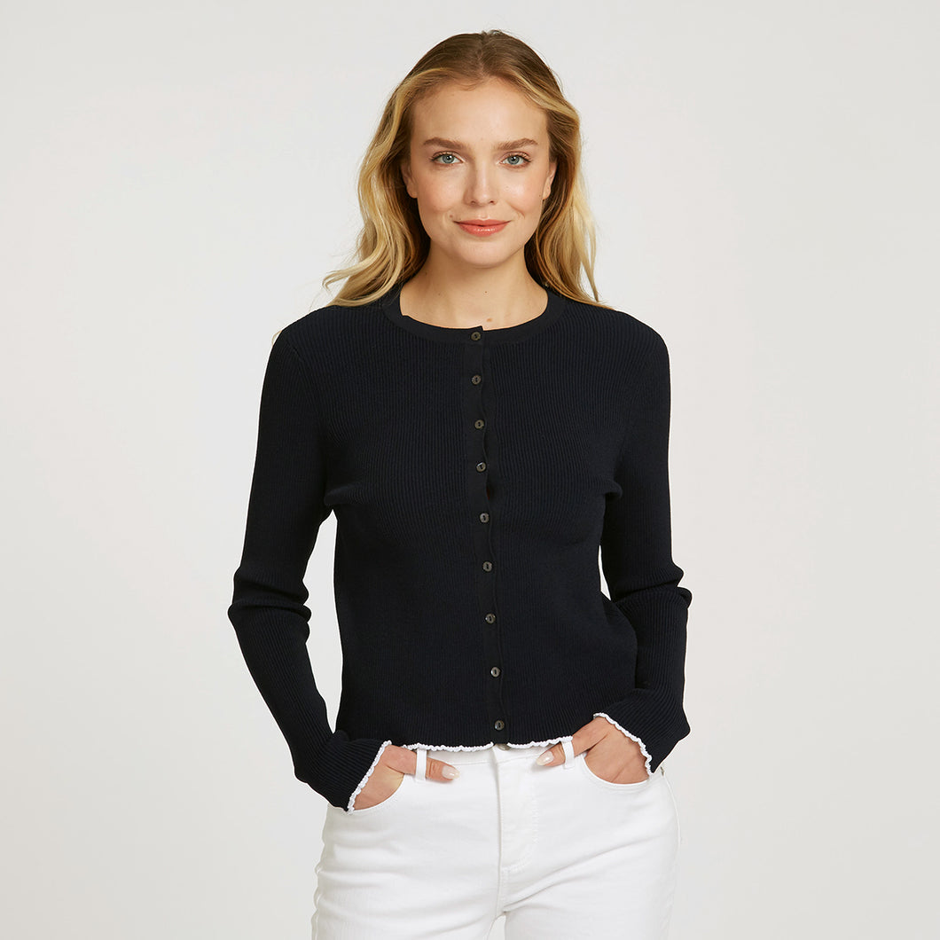 Lettuce Edge Crew Neck Cardigan in Navy with White Rim Edge | Women's Apparel | Long Sleeves | Buttons | Autumn Cashmere