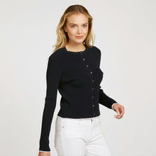 Load image into Gallery viewer, Lettuce Edge Crew Neck Cardigan in Navy with White Rim Edge | Women's Apparel | Long Sleeves | Buttons | Autumn Cashmere