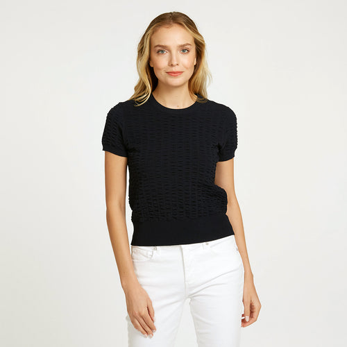 Cropped Seersucker Crew in Black | Lightweight Blouse | Black Top Short Sleeve | Women's Apparel | Autumn Cashmere
