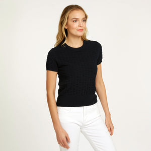 Cropped Seersucker Crew in Black | Viscose Blend | Black Top Short Sleeve | Women's Apparel | Autumn Cashmere