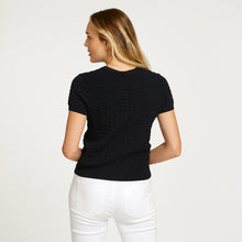 Load image into Gallery viewer, Cropped Seersucker Crew in Black | Lightweight Blouse | Black Top Short Sleeve | Women's Apparel | Autumn Cashmere