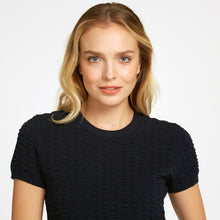 Load image into Gallery viewer, Cropped Seersucker Crew in Black | Viscose Blend | Black Top Short Sleeve | Women's Apparel | Autumn Cashmere