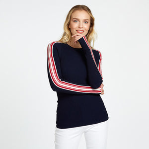Rib Crew with Racing Stripe in Navy