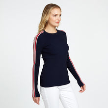 Load image into Gallery viewer, Rib Crew with Racing Stripe in Navy