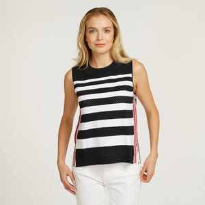 Mesh Muscle Tee with Tuck Stitch Stripes | Stripe Tank Shirt | Sporty Gym Wear | Women's Apparel | Autumn Cashmere