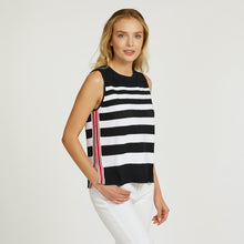 Load image into Gallery viewer, Mesh Muscle Tee with Tuck Stitch Stripes | Stripe Tank Shirt | Sporty Gym Wear | Women's Apparel | Autumn Cashmere