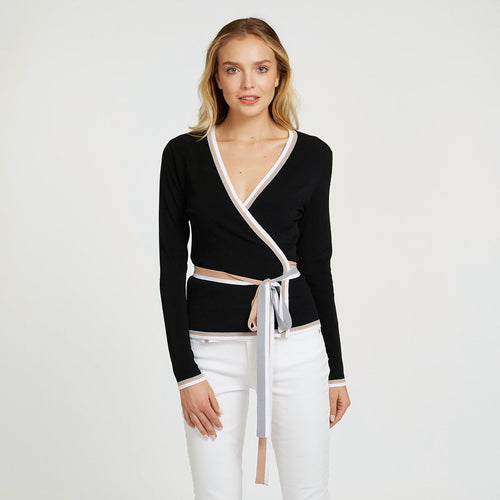 Surplus with Striped Detail Kimono Blouse Cardigan with Belt | Women's Apparel | Autumn Cashmere