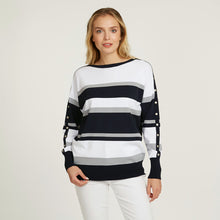 Load image into Gallery viewer, Striped Boatneck with Snap Detail | Stripe Pullover | Women's Apparel | Autumn Cashmere