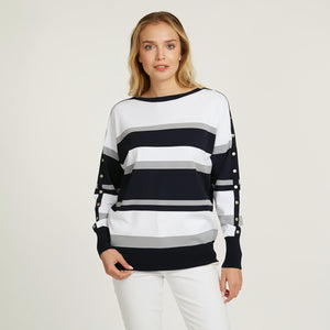 Striped Boatneck with Snap Detail | Stripe Pullover | Women's Apparel | Autumn Cashmere