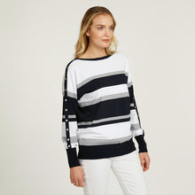 Load image into Gallery viewer, Striped Boatneck with Snap Detail | Stripe Sweater | Women's Apparel | Autumn Cashmere
