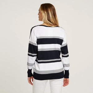 Striped Boatneck with Snap Detail | Stripe Sweater | Women's Apparel | Autumn Cashmere