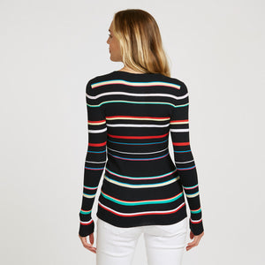 Multi Stripe Rainbow Rib Crew | Pullover Sweater | Women's Clothing & Knitwear | Autumn Cashmere