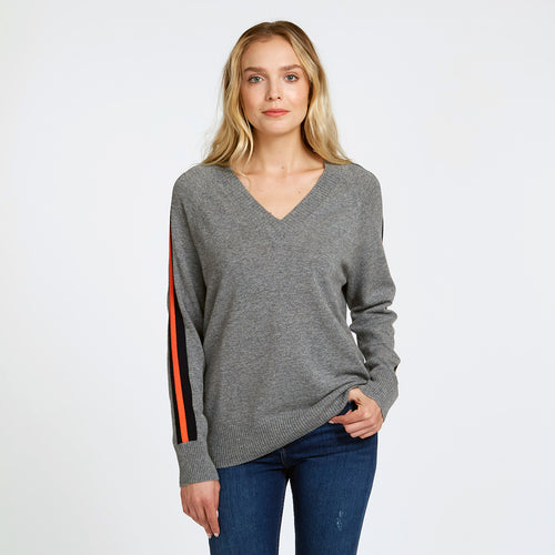 Tech Racing Stripe V-Neck in Cement | Autumn Cashmere