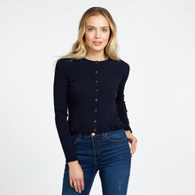 Load image into Gallery viewer, Ruffle Edge Cardigan in Black