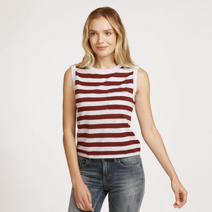 Autumn Cashmere. Striped Muscle Tee with Pocket. Sleeveless Stripe Cotton Tank. 100% Cotton.