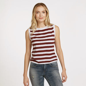 Striped Muscle Tee with Pocket | Red White Stripe T-Shirt | Sleeveless | 100% Cotton | Autumn Cashmere