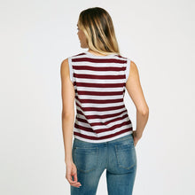 Load image into Gallery viewer, Autumn Cashmere. Striped Muscle Tee with Pocket. Sleeveless Stripe Cotton Tank. 100% Cotton.