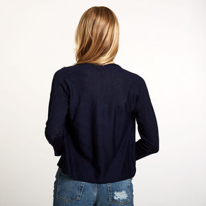 Easy Crop Cardigan in Navy | Autumn Cashmere