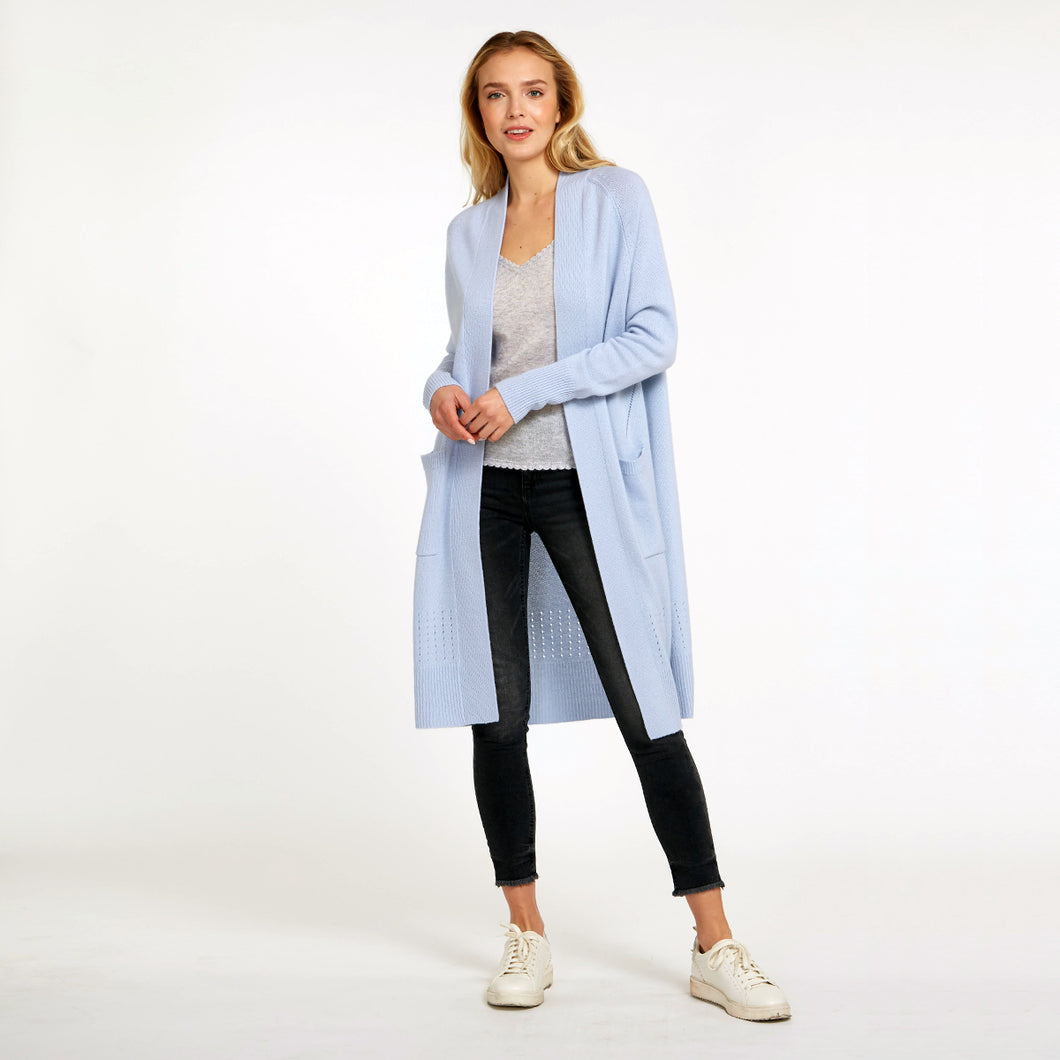 Open Maxi Cardigan with Pockets in Blue | Cashmere Cardigan | Women's Apparel & Knitwear | Autumn Cashmere