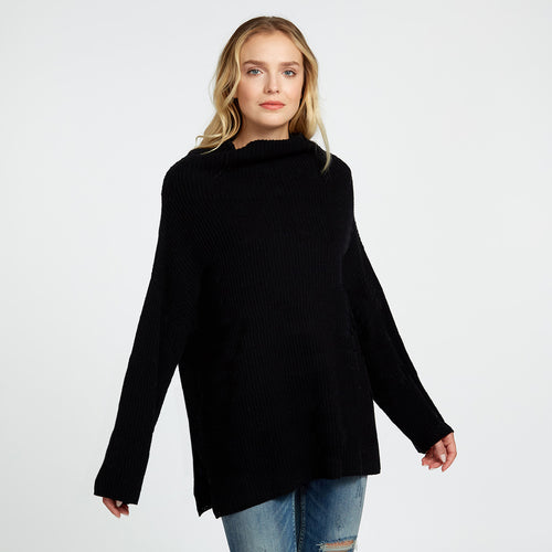 Boxy Shaker Funnel Neck in Black