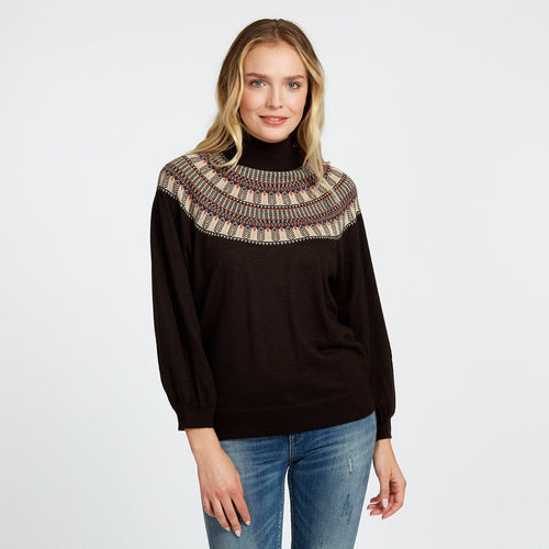 Cashmere Fairisle Mock in Brown