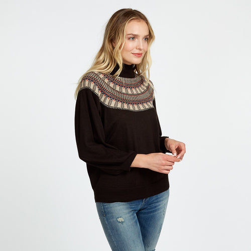 Cashmere Fair Isle Mock in Brown | Women's Sweater | Autumn Cashmere