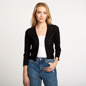 Easy Crop Cardigan in Black | Autumn Cashmere