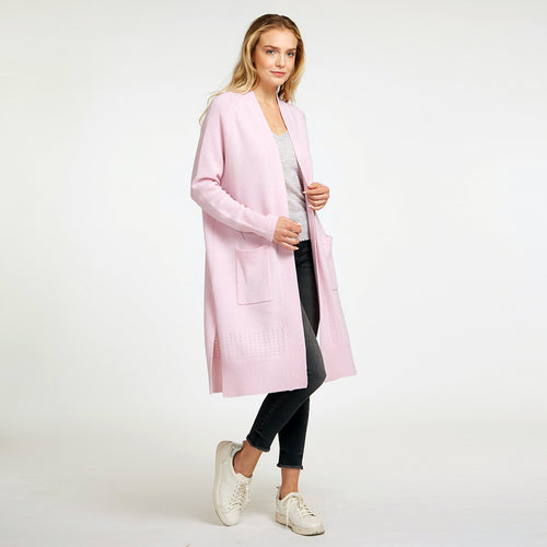 Open Maxi Cardigan with Pockets in Pink | Cashmere Cardigan | Women's Apparel & Knitwear | Autumn Cashmere