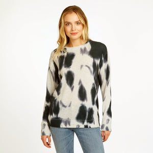 Blotch Print Boyfriend Crew Pullover Sweater | Women's Apparel | 100% Cashmere | Autumn Cashmere