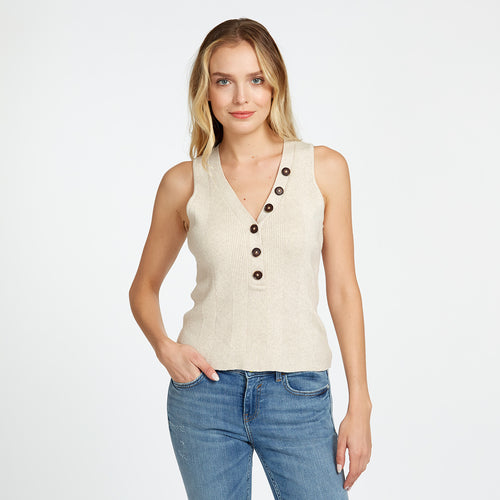 Rib Sleeveless Button V-Neck in Cotton | Autumn Cashmere