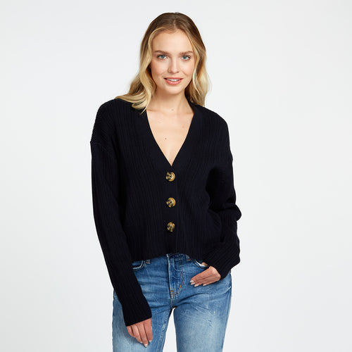 Cotton Ribbed V-Neck Cardigan in Navy
