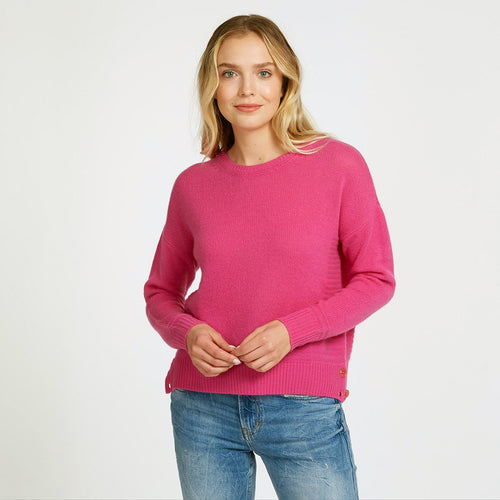 Side Buttoned Crew Pink Pullover Sweater | Women's Apparel & Knitwear | 100% Cashmere | Autumn Cashmere