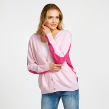 Load image into Gallery viewer, Color Block Boyfriend Cardigan Pink | Women's Apparel & Knitwear | Autumn Cashmere