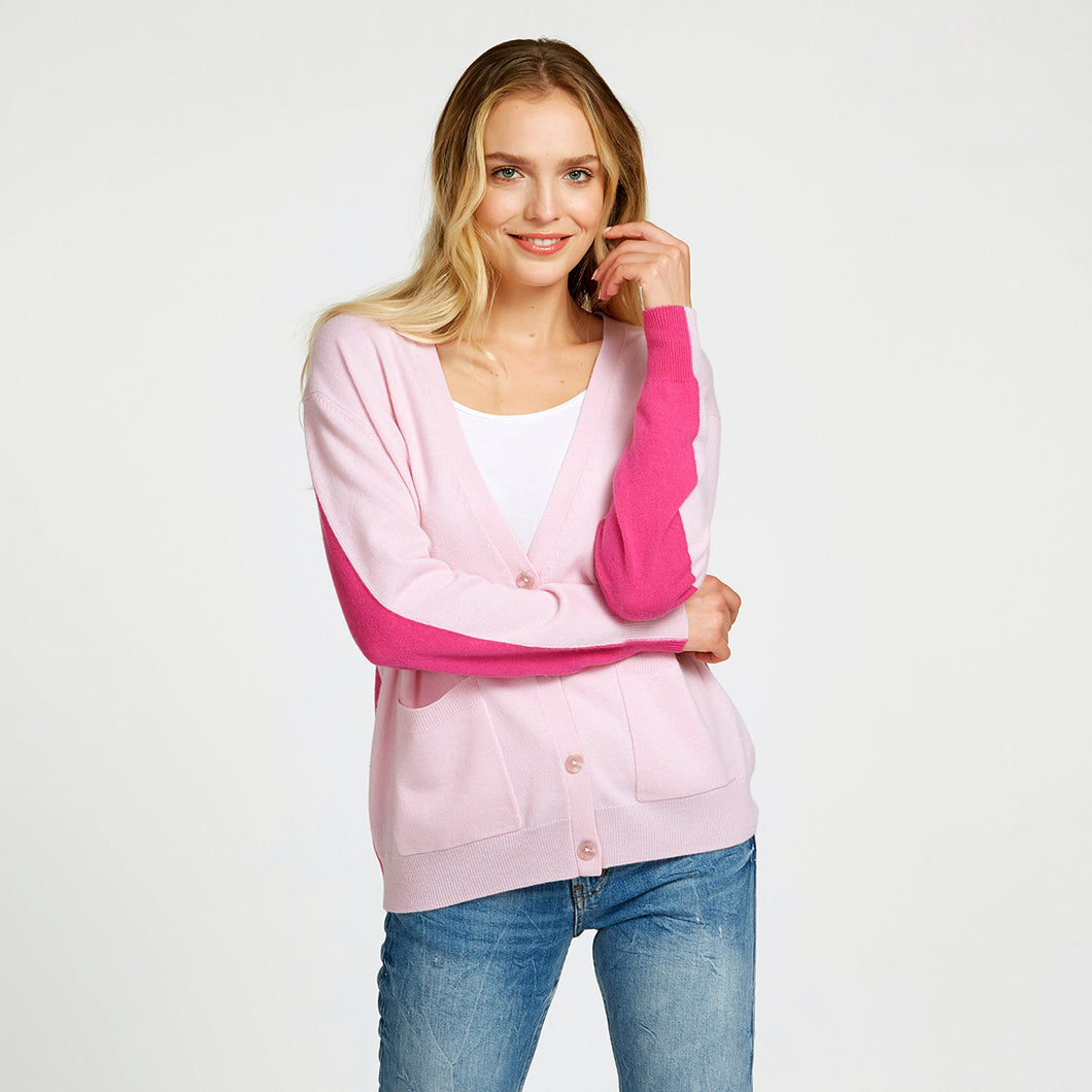 Color Block Boyfriend Cardigan Pink | Women's Apparel & Knitwear | Autumn Cashmere