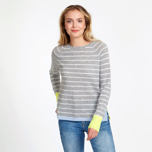 Striped Raglan with Colored Side Inserts | Women's Apparel & Clothing | Stripe Sweater | Autumn Cashmere