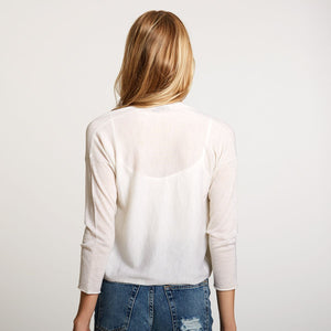 Easy Crop Cardigan in Light Beige | Women's Clothing & Knitwear | Autumn Cashmere