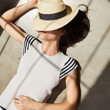 Load image into Gallery viewer, Stripe Cap Sleeve Top in Turtledove | Autumn Cashmere